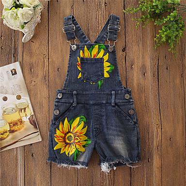 povoljno Odjeća za dječake-Djeca Djevojčice Aktivan Osnovni Suncem Cvjetni print Print Pamuk Kombinezon Plava