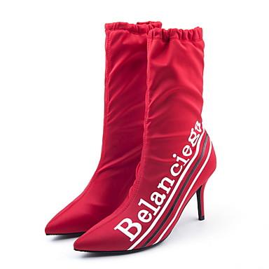 voordelige Dameslaarzen-Dames Laarzen Naaldhak Gepuntte Teen Netstof Kuitlaarzen Herfst winter Zwart / Rood / Blauw / leuze