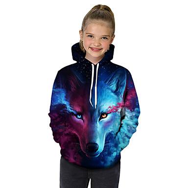 billiga Flickhuvtröjor och sweatshirts-Barn Småbarn Flickor Aktiv Grundläggande Varg Geometrisk Tryck Färgblock Tryck Långärmad Huvtröja och sweatshirt Blå / Djur