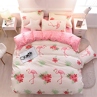 cheap Duvet Covers-Flamingo Pink Bedding Sets Duvet Cover Sets Contemporary Polyster Printed 4 PieceBedding Sets