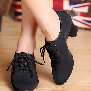 cheap Dance Shoes-Women's Dance Shoes Suede Jazz Shoes Heel Cuban Heel Black / Practice