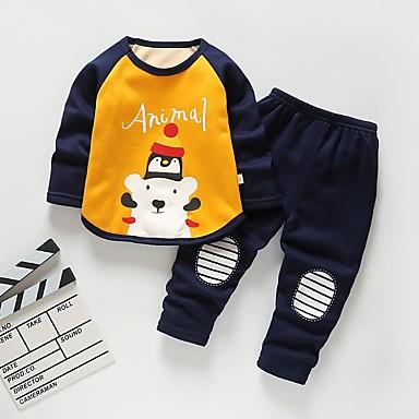cheap Boys' Clothing Sets-Toddler Boys' Basic Cartoon Christmas Long Sleeve Clothing Set Yellow
