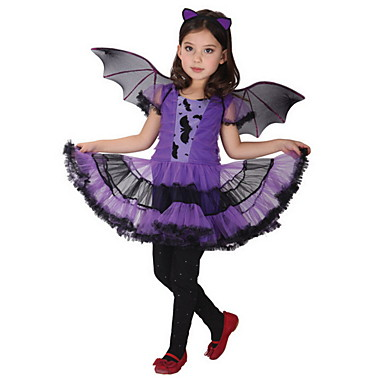 preiswerte Halloween Angebote-Kinder Mädchen Aktiv Geometrisch Halloween Druck Kurzarm Übers Knie Kleid Purpur