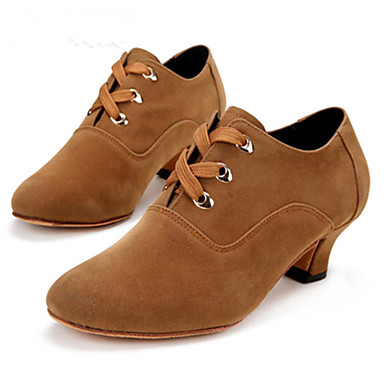 cheap Jazz Shoes-Women's Dance Shoes Suede Jazz Shoes Heel Cuban Heel Customizable Brown / Black / Red