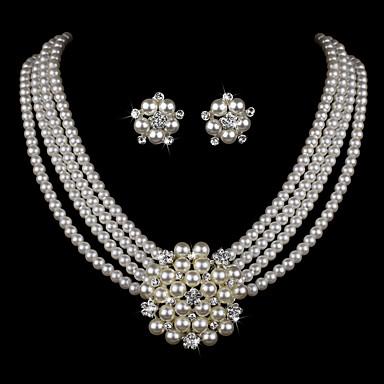 levne Dámské šperky-Dámské Sady šperků Kytky dámy Luxus Evropský Módní Měsíční kámen Elegantní Perly Štras Postříbřené Náušnice Šperky Náhrdelník a náušnice a Tiara / Náramek a náhrdelník a náušnice / Bílá Pro Svatebn