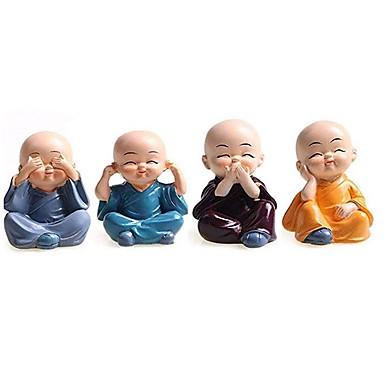 billige Interiørtilbehør til bilen-4stk kreative kinesisk liten munkestatue skulptur harpiks tilbehør til hjemmet dekorasjon mini munk gave