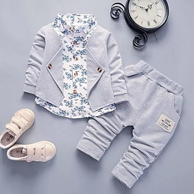 preiswerte Babykleidung Jungen-Baby Jungen Street Schick Druck Langarm Standard Kleidungs Set Rote
