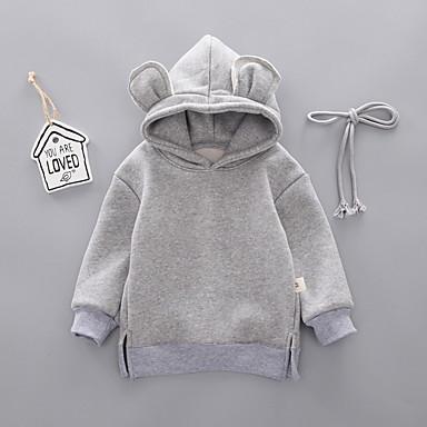 povoljno Odjeća za bebe-Dijete Djevojčice Ulični šik Jednobojni Dugih rukava Trenirka s kapuljačom Blushing Pink