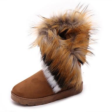 billige Utvalgte tilbud-Dame Støvler Snøstøvler Flat hæl Rund Tå Pom-pom Sateng Ankelstøvler Fritid Gange Høst vinter Svart / Kamel / Blå