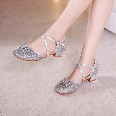 preiswerte Tanzschuhe für Kinder-Damen / Mädchen Tanzschuhe Kunststoff Schuhe für den lateinamerikanischen Tanz / Schuhe für modern Dance Pailetten Absätze Starke Ferse Gold / Rosa / Silber