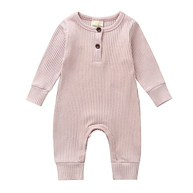 cheap Baby Boys' One-Piece-Baby Boys' Street chic Solid Colored Long Sleeve Romper Black