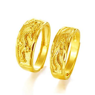 levne Dámské šperky-Pro páry Snubní prsteny Prsten 1ks Zlatá Růžové zlato Měď Kulatý Geleneksel Módní Svatební Šperky Draci Zvíře Cool