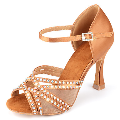 cheap Dance Shoes-Women's Dance Shoes Satin Latin Shoes Sparkling Glitter / Buckle / Glitter Heel Flared Heel Customizable Almond
