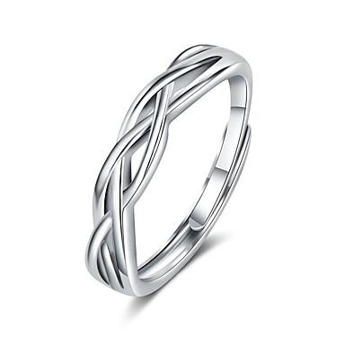 billige Motering-Par Parringer Ring 1pc Hvit Sølv Kobber Sirkelformet Grunnleggende Koreansk Mote Bryllup Gave Smykker Bølge