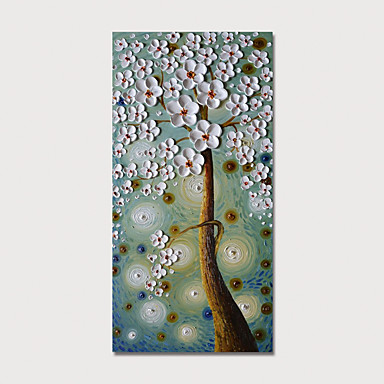 cheap Wall Art-Oil Painting Hand Painted - Floral / Botanical Modern Stretched Canvas