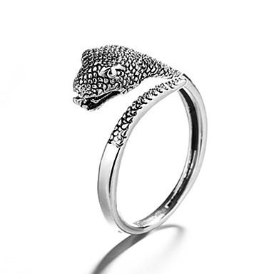 billige Motering-Herre Dame Ring 1pc Sølv Kobber Sirkelformet Vintage Grunnleggende Mote Festival Smykker Slange Dyr Kul Smuk