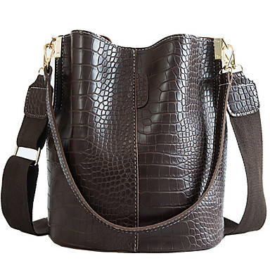 cheap Top Handles & Tote Bags-Women's PU Bucket Bag Solid Color Black / Green / Coffee / Fall & Winter
