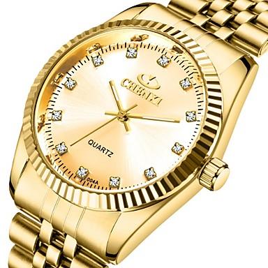 levne Pánské-CHENXI® Pánské Hodinky k šatům Křemenný Formální styl Stylové Nerez Zlatá 30 m Voděodolné Svítící Analogové Luxus Módní - Zlatá zlatá + černá zlatá + bílá Jeden rok Životnost baterie