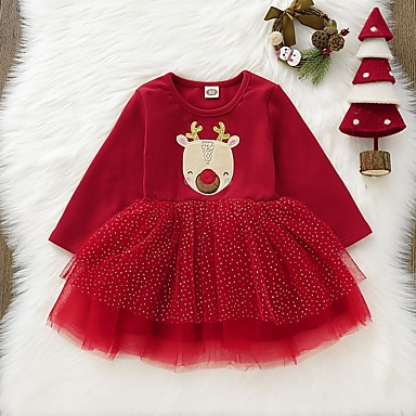 cheap Baby & Toddler Girl-Baby Girls' Basic Print / Christmas Long Sleeve Dress Red / Toddler