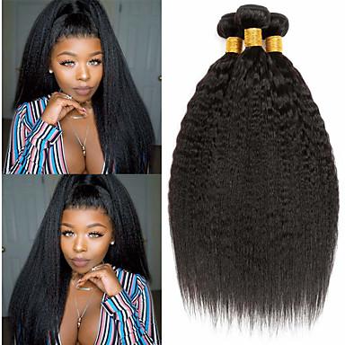 povoljno Ekstenzije za kosu-3 paketa Brazilska kosa Kinky Ravno Ljudska kosa Ljudske kose plete Bundle kose Ekstenzije od ljudske kose 8-28 inch Prirodna boja Isprepliće ljudske kose proširenje Najbolja kvaliteta Rasprodaja