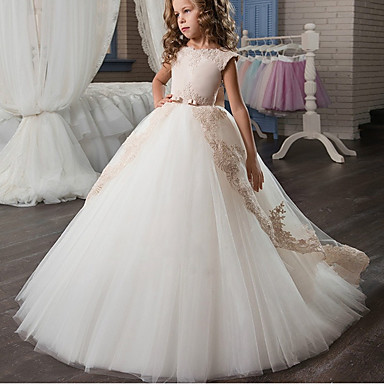 cheap Party Dresses-Kids Girls' Formal Flower Cute Party Birthday Color Block Lace Bow Tulle Sleeveless Maxi Dress White