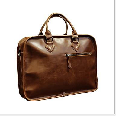 preiswerte Laptoptaschen-Wasserdicht Rindsleder Reißverschluss Laptop Tasche Alltag Kaffee
