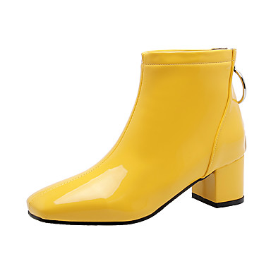 cheap Women's Boots-Women's Boots Chunky Heel Square Toe Patent Leather Booties / Ankle Boots Fall & Winter Black / White / Yellow / Party & Evening