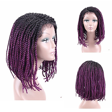 cheap Beauty & Hair-Synthetic Lace Front Wig Plaited Style Side Part Lace Front Wig Ombre Short Black#1B Black / Burgundy Strawberry Blonde / Medium Auburn Black / Purple Medium Brown Kanekalon 16 inch Women's Women New