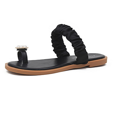 voordelige Damespantoffels & slippers-Dames Slippers & Flip-Flops Platte hak Ronde Teen PU Zomer Zwart / Beige
