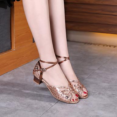 preiswerte Tanzschuhe-Damen / Mädchen Tanzschuhe Kunststoff Schuhe für den lateinamerikanischen Tanz / Schuhe für modern Dance Pailetten Absätze Starke Ferse Gold / Gelb / Silber