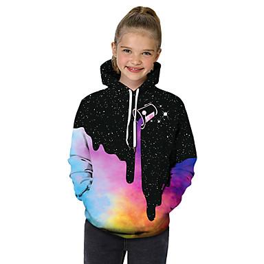 billiga Flickhuvtröjor och sweatshirts-Barn Småbarn Flickor Aktiv Grundläggande Svartvitt Geometrisk Galax Färgblock Tryck Långärmad Huvtröja och sweatshirt Regnbåge
