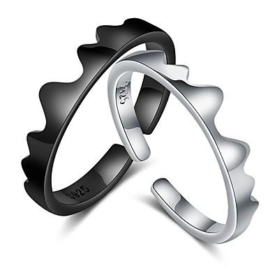 levne Dámské šperky-Pro páry Snubní prsteny Prsten 1ks Černá Stříbrná Měď Kulatý Základní korejština Módní Dar Slib Šperky Vlna