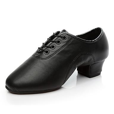 preiswerte Tanzschuhe für Kinder-Jungen / Mädchen Tanzschuhe Kunstleder Schuhe für modern Dance / Salsa Tanzschuhe / Samba Tanzschuhe Oxford / Absätze Starke Ferse Maßfertigung Schwarz