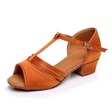 저렴한 아이용 댄스 신발-여아 댄스 신발 새틴 라틴 슈즈 힐 두꺼운 발 뒤꿈치 주문제작 가능 블랙 / 브라운 / 골드