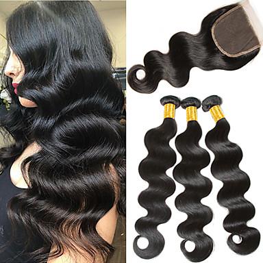 povoljno Ekstenzije od ljudske kose-3 paketi s zatvaranjem Malezijska kosa Tijelo Wave Virgin kosa 100% Remy kose tkanja Bundle Ljudske kose plete Bundle kose Ekstenzije od ljudske kose 8-24 inch Crna Prirodna boja Isprepliće ljudske