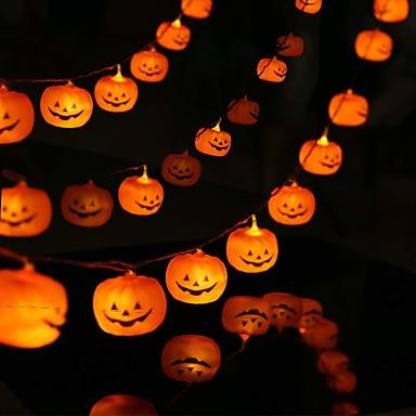 3m 9,84ft 20 led halloween gresskar led strengelys ferielys 3d jack o lykt for utendørs dekor flimrende mote