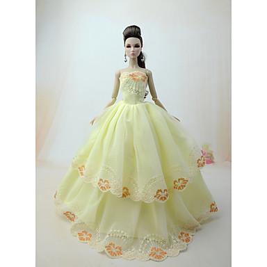 levne Doplňky pro panenky-Šaty pro panenky Party / Večírek Pro Barbie Květiny Světle žlutá Bílá Perlová růžová Pro Dívka je Doll Toy