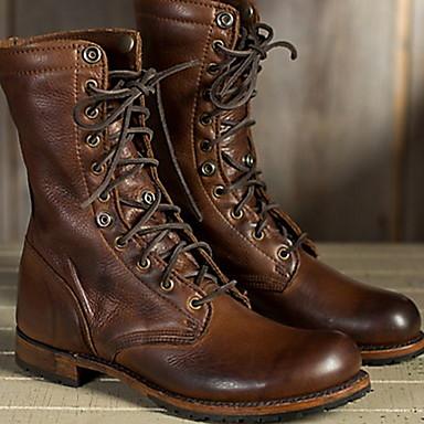 povoljno Čizme u prodaji-Žene Čizme Udobne cipele Ravna potpetica Okrugli Toe PU Čizme do pola lista Jesen zima Braon