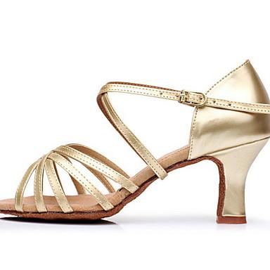 preiswerte Tanzschuhe-Damen Tanzschuhe PU Schuhe für den lateinamerikanischen Tanz Absätze Schlanke High Heel Schwarz / Schwarz und Gold / Leopard