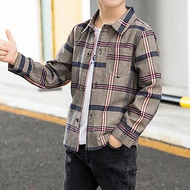 povoljno Odjeća za dječake-Djeca Dječaci Osnovni Karirani uzorak Dugih rukava Majica Red