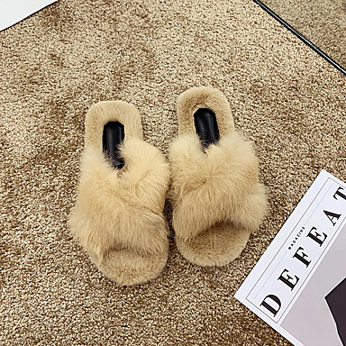 voordelige Damespantoffels & slippers-Dames Slippers & Flip-Flops Platte hak Open teen Imitatiebont Informeel Wandelen Herfst winter Zwart / Groen / Beige
