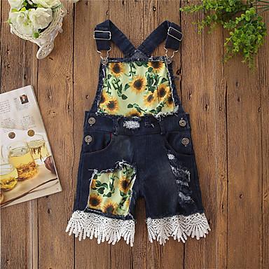 povoljno Odjeća za dječake-Djeca Djevojčice Aktivan Osnovni Tratinčica Cvjetni print Print Pamuk Kombinezon Tamno siva