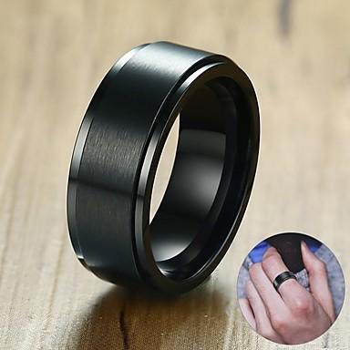 voordelige Dames Sieraden-Heren Dames Bandring Ring 1pc Zwart Zilver Roestvast staal puoliympyrä Bohémien Zoet leuke Style Club Sieraden