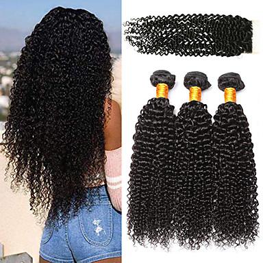 povoljno Ekstenzije od ljudske kose-3 paketi s zatvaranjem Peruanska kosa Kinky Curly Virgin kosa 100% Remy kose tkanja Bundle Ljudske kose plete Bundle kose Ekstenzije od ljudske kose 8-24 inch Prirodna boja Isprepliće ljudske kose
