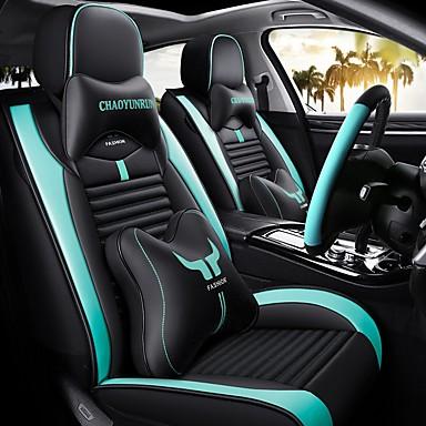 billige Interiørtilbehør til bilen-5stk / sett tegneserie bilstolpute fire sesonger universal full bilstol dekker kompatible kollisjonsputer to hodeputer og to midjeleie