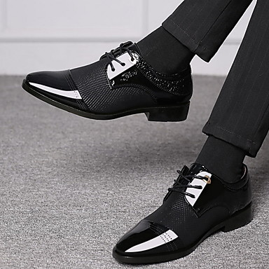 tanie Oksfordki męskie-Męskie Eleganckie buty Buty Derby Lato Biznes / Klasyczny Codzienny Impreza / bankiet Biuro i kariera Oksfordki PU Oddychający Brązowy / Czarny