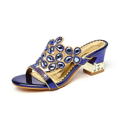 voordelige Damespantoffels & slippers-Dames Slippers & Flip-Flops Blokhak Ronde Teen Imitatieleer Herfst winter Paars / Goud / Blauw