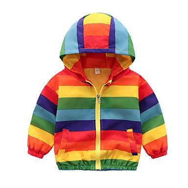 cheap Boys' Jackets & Coats-Toddler Boys' Basic Striped Regular Trench Coat Rainbow