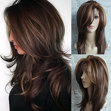 cheap Synthetic Lace Wigs-Synthetic Wig Straight Wavy Hathaway Side Part Wig Medium Length Brown Synthetic Hair 22inch Women's Heat Resistant Classic Synthetic Brown / Natural Hairline / Natural Hairline