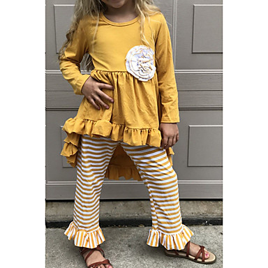 cheap Baby & Kids-Kids Girls' Basic Easter Striped Halloween Long Sleeve Clothing Set Yellow